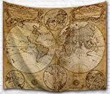 Mappa del mondo antico arazzo appeso Imei, poliestere tessuto Wall Art arazzi arredamento per soggiorno, camera da letto, Poliestere, Old Map, 51X60 Inch