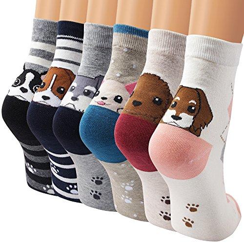 Ambielly calcetines de algodón calcetines térmicos Adulto Unisex Calcetines (6 perros mezclados)