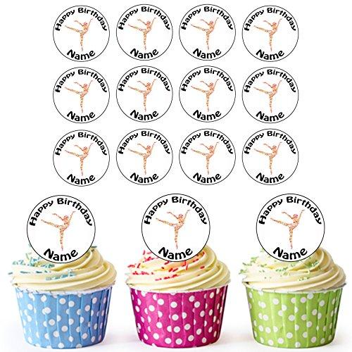 Bunte Tänzerin 24Personalisierte Essbare Cupcake Topper/Geburtstag Kuchen Dekorationen–Einfache vorgeschnittenen Kreise (Rumba Kurze)