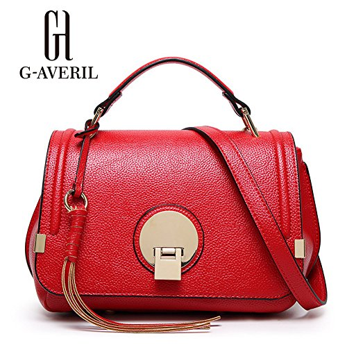 (G-AVERIL) Pelle Borsa Donna 2018 borse bag Tote a Spalla Tracolla Shoulderbag Top-Handle rosso