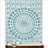 Eyes of India - Einzelbett Hippie INDISCHE Mandala Wandbehang Wand hängen Schlafraum unkonventionell Boho dekorativ - weiß-blau #1
