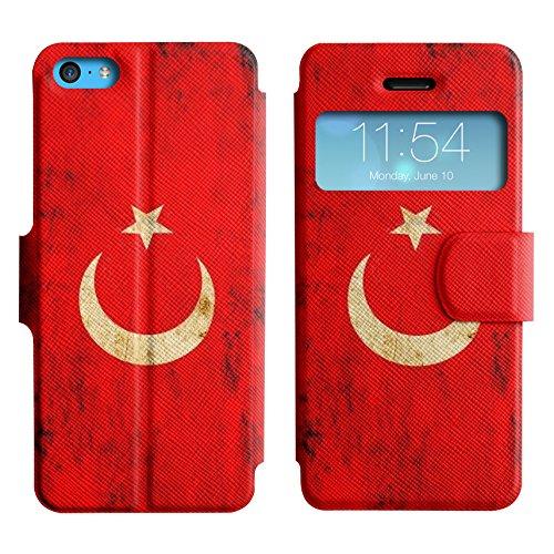 Graphic4You Vintage Uralt Flagge Von Iraker Irak Design Leder Schützende Display-Klappe Brieftasche Hülle Case Tasche Schutzhülle für Apple iPhone 5C Turkey Türkisch