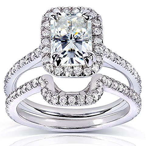 radiant-cut & avec zircons ronds Lot de mariage Diamant en