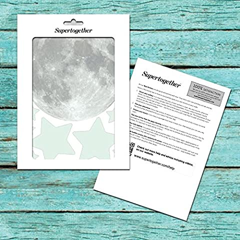 Supertogether Glow In The Dark Moon and Stars Childrens Bedroom Sticker Decals