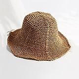 YXINY Viseras Verano  Sombrero De Paja De Las Mujeres Costa Pasar Las Vacaciones Sombrero para El Sol Sombra  Protector Solar (Color : Color Cafe)