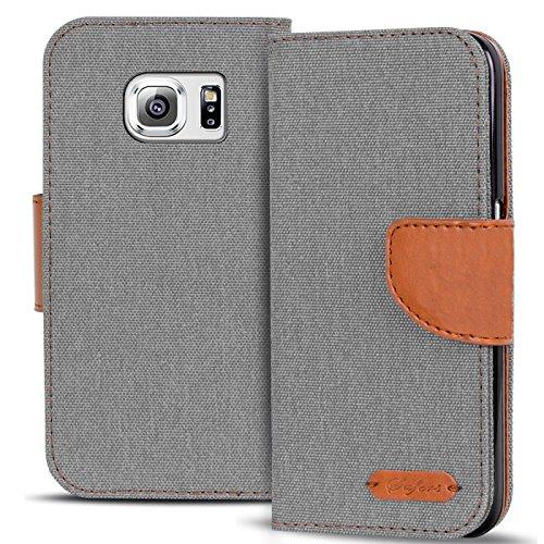Conie Textil Hülle kompatibel mit Samsung Galaxy S6 Edge, Booklet Cover Silberne Handytasche Klapphülle Etui mit Kartenfächer