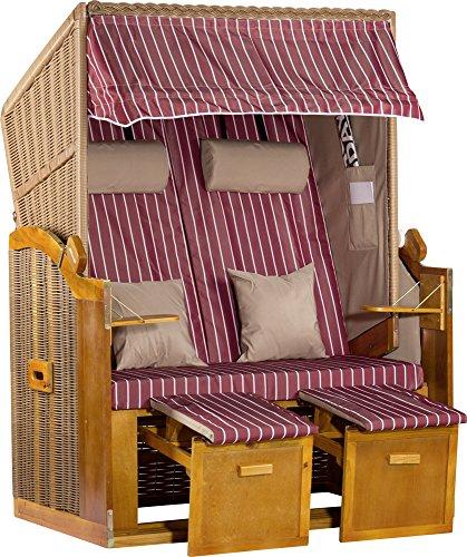 foolonli Strandkorb Luxus Wismar Rot Weiß gestreift fachmänisch aufgebaut 2 Sitzer