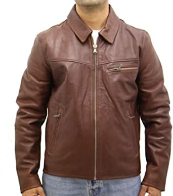 Mens Cowhide Leather Classic Retro Zip Bomber Harrington Fitted Blouson Jacket in Black or Brown