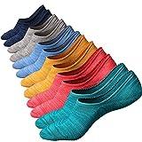 Ueither Chaussettes Décontractées en Coton Taille Basse Antidérapantes pour Homme (44-48, Couleur 3 (6 Paires))