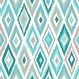 Rasch Textil Tapete 10,05 x 0,53 m - Gerader Ansatz - Feine Struktur - Stil: Geometrisch - z.B. Wohnzimmer, Schlafzimmer, Flur, Foyer - Farbe: Türkis Grau Weiß