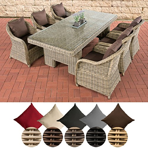 CLP Polyrattan-Sitzgruppe CANDELA inklusive Polsterauflagen | Garten-Set bestehend aus einem Esstisch mit einer pflegeleichten Tischplatte aus Glas und sechs Sesseln | In verschiedenen Farben erhältlich Bezugfarbe: Terrabraun, Rattan Farbe natura