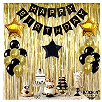 Black,Gold Balloons and Paper Pom Poms Party Supplies for Birthday Decoration With Pale Champagne Metallic Foil Fringe Tinsel Curtain Happy Birthday Party Decoration Backdrop,Black Decoration Kit
