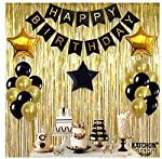 Black,Gold Balloons and Paper Pom Poms Party Supplies for Birthday Decoration With Pale Champagne Metallic Foil Fringe...