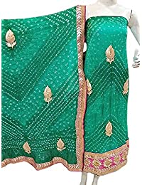 Jaipuri Rajasthani Suit Art Silk Bandhej Gota Patti Work Gossamer Green Color
