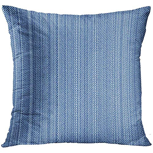 wenyige8216 Distressed Herringbone Vintage Blue Jeans Denim Linen Design is Material Angle Decorative Pillowcases Throw Cushion Covers for Sofa and Couch 45 x 45 cm Distressed Blue Jeans