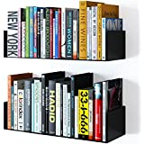 INDIAN DECOR Floating Wall Mount Metal U Shape Shelf Book/CD/DVD Storage Display Bookcase (Black, 4.5x18x8-inch)