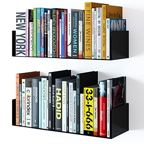 INDIAN DECOR Floating Wall Mount Metal U Shape Shelf Book CD DVD Storage Display Bookcase Black  available at amazon for Rs.1999