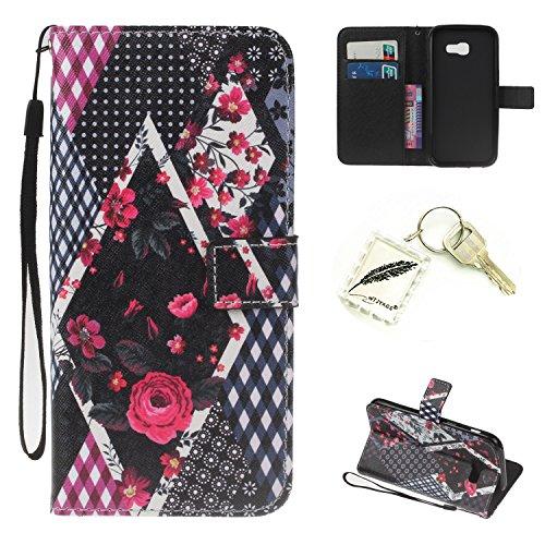 Preisvergleich Produktbild Silikonsoftshell PU Hülle für Samsung Galaxy A3 (2017) (4,7 Zoll) Tasche Schutz Hülle Case Cover Etui Strass Schutz schutzhülle Bumper Schale Silicone case+Exquisite key chain X1) #KH (3)
