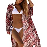 Mose Women's 3/4 Sleeves Shawl, Printed Kimono Cardigan Beach Blouse Chiffon Loose Shawl Print Kimono Cardigan Top Cover Up Casual Elegant Tops Clothing