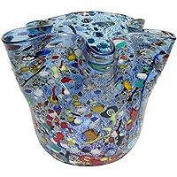 FAZZOLETTO Vetro Murano Foglia Argento 925 Murrine Vaso Venezia Made (Vaso Di Vetro Bicchiere)