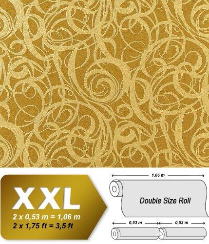 Preisvergleich Produktbild 3D Vliestapete Grafiktapete XXL EDEM 971-38 Design geschwungene Linien abstraktes Wirbelmuster Olivgrün gold 10, 65 qm