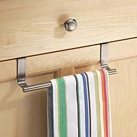 HOME CUBE Stainless Steel Towel Bar Holder Cabinet Hanger over Door Kitchen Hook Drawer Storage (Silver)
