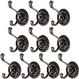 10Pcs Ganchos Metal Perchas Pared Armario Estilo Retro para Colgar Ropa Abrigo Sombrero Gorro (color bronce) --2 elecciones: color bronce o blanco