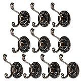 10 stück Kleiderhaken Vintage Haken Wand Garderobenhaken Metall Huthaken Mantelhaken Wandhaken Handtuchhaken für Badezimmer Küche (Bronzefarbe)