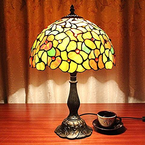 Carl Artbay 12-Inch Vintage Pastoral Gorgeous Flowers Stained Glass Tiffany Table Lamp Bedroom Lamp Bedside Lamp