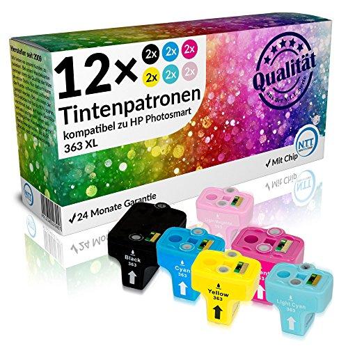 N.T.T.® - 12 STÜCK (2 SETS) kompatible XL Tintenpatronen / Druckerpatronen für HP Photosmart 363 Serie 363BK 363Y 363M 363LM 363C 363LC