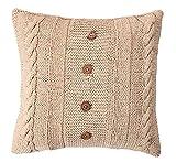 EHC Tagesdecke Baumwolle Hand gestrickt Kabel Knit Pullover Thema mit Knöpfe aus Holz Kissenbezug, cream-p, baumwolle, leinen, 61 x 61 x 3.8 cm