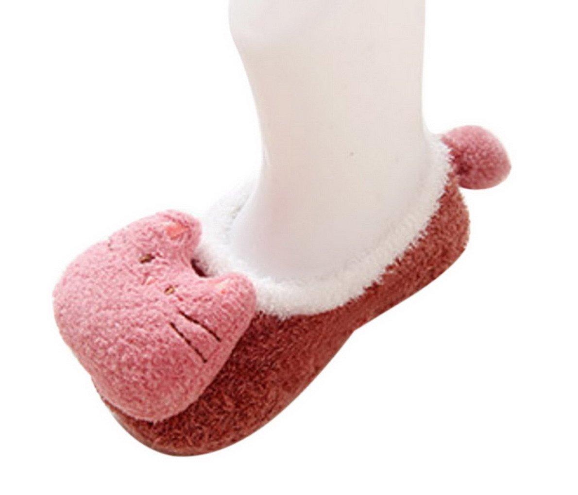 Happy Cherry - 3 Pares de Recién Nacido Calcetines Antideslizantes Primer Paso para Primavera Otoño Zapatillas de Casa… 3