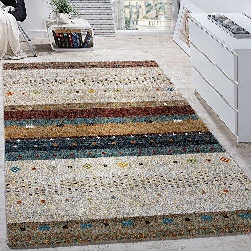 Paco home tappeto di design moderno loribaft con motivo stile nomade effetto gabbeh beige crema mélange, dimensione:120x170 cm