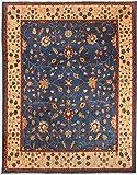 Morgenland Afghan Ziegler Teppich 350 x 277 cm Blau Handgeknüpft Schurwolle