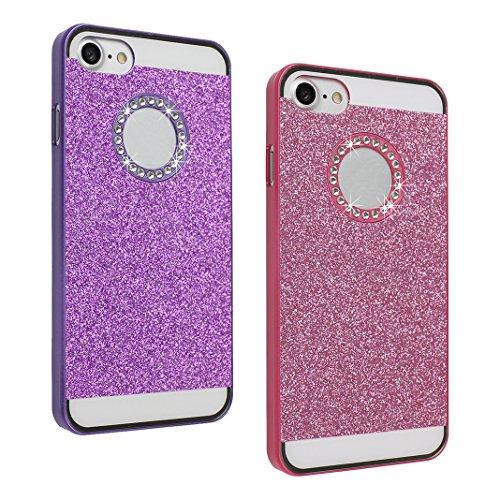 2 PCS iPhone 7/8 Schale Glitter, iPhone 7 Hard Case, iPhone 8 Hard Case, Moon mood® Ultra Slim Thin 3D Bling Strass Hülle Hart Bling Gliter Handytasche Kristall Schutzhülle für Apple iPhone 7 / iPhone 2 PCS 2