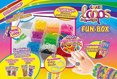 CRAZE Loops Fun Box Juego Completo de Anillos de Silicona con Aguja de Ganchillo, Pulsera de Silicona, Mega US-Trend 20814, Juego de Manualidades para niños