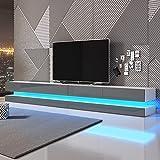 Aviator Double - Le Meuble TV Suspendu (280 cm, Blanc Mat/Gris Brillant avec...
