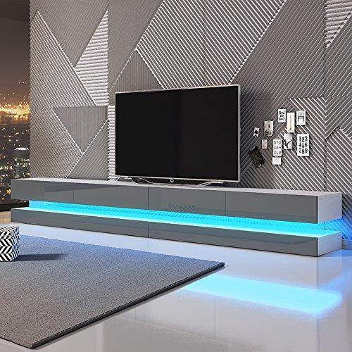Aviator Double - le meuble TV suspendu (280 cm, Blanc mat/ Gris brillant avec l'éclairage LED bleue)