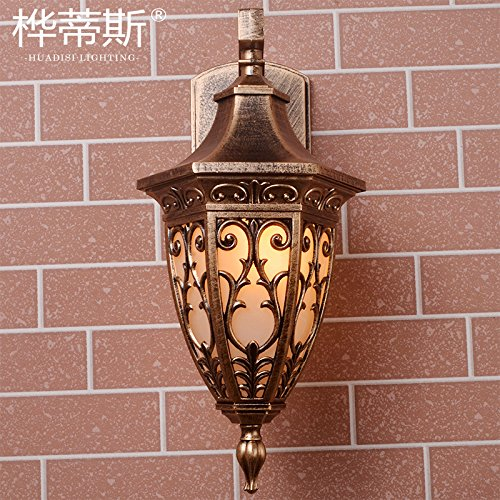 Impermeabile esterno muro luce illuminazione giardino terrazza all'aperto di stile Europeo di lampada a parete (Corsia Crema)