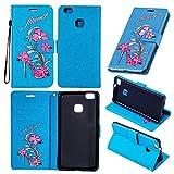 Cover per Huawei P9 Plus , Custodia per Huawei P9 Plus ,Leather Case Cover Custodia per Huawei P9 Plus ,Cozy hut Caso / copertura / telefono / involucro Tacchi alti Disegno retro della del modello PU con a Bookstyle tasche carte di credito funzione con interno morbido in TPU Portafoglio Supporto Slot Schede Protettiva Bumper Caso, Leather Case Cover Custodia per Huawei P9 Plus - Tacchi alti blu