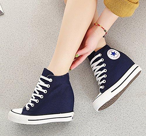 wealsex Sneakers Compensées Montante Femme Basket Toile Chaussure Confort Bleu