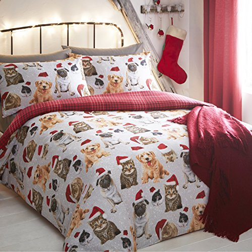 Just contempo set copripiumino natalizio con stampe di animali, in poliestere e cotone, multi-colour, king