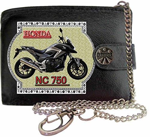 HONDA NC 750 grau Bild auf KLASSEK Marken RFID Herren Geldbörse Portemonnaie Echtes Leder mit Kette Motorrad Bike Zubehör Geschenk mit Metall Box NICHT OFFIZIELLE HONDA Produkte - Leder-motorrad-kette Geldbörse
