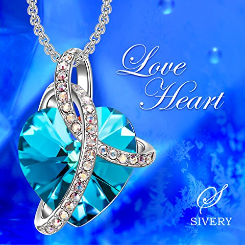 """SIVERY """"Love Heart"""" Blue Necklace Heart Pendant with Crystal from Swarovski, Jewellery for Women"""