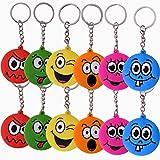 TE-Trend 12 pièces Porte-clés Set Smile Emoji visage EMOJICON déco chaîne anneau porte-clés anniversaire petit cadeau