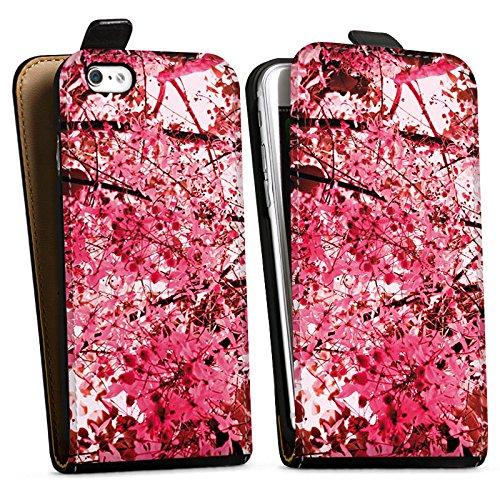 Apple iPhone X Silikon Hülle Case Schutzhülle Pink Blüten Frühling Downflip Tasche schwarz