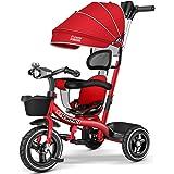 Multifunktionell trehjuling för barn med musik och ljus, pedalcykel, barnvagn med markis och avtagbart tryckhandtag, sätet ka