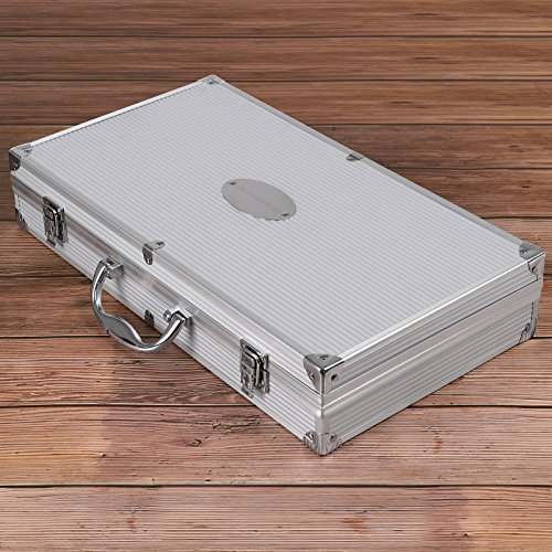 61bmwvbYQzL - SONGMICS Grillbesteck Set aus Edelstahl mit Ersatzteile 18 teilig Maishalter zum Grillen Zubehör mit Alukoffer GBT18SV