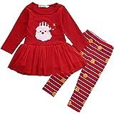 Traje Navidad de Bebé Niña Conjunto Vestido Navideño en Tul de Manga Larga con Dibujo de Santa Claus + Pantalones a Rayas (0-