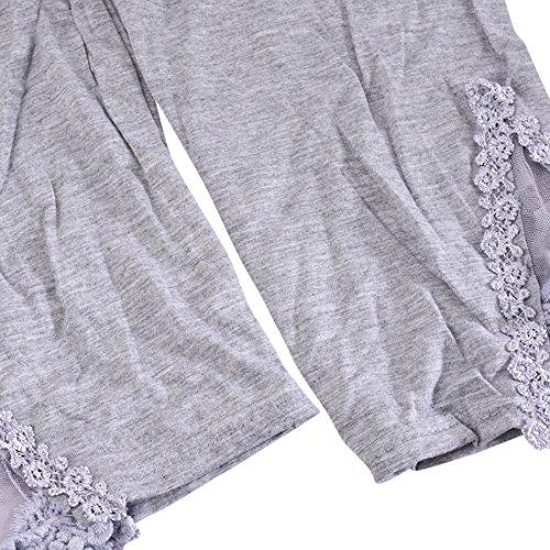 Vertvie Femme 3/4 Longueur Leggings Modal avec Bordure Dentelle Pantalon Court Doux Extensible Taille Unique Gris Mesh